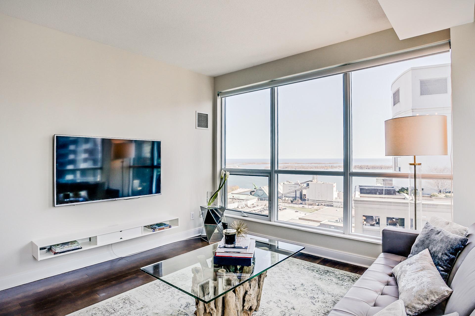 Living Room With Lake Views